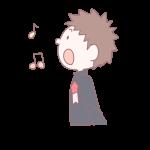 歌を歌う卒業生の男の子