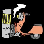 電柱にぶつかるバイク