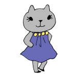 ドレスを着るネコ