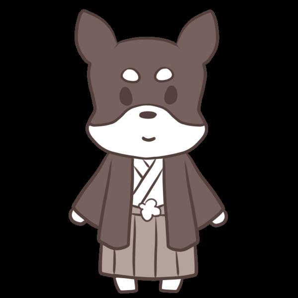 袴姿の犬のイラスト