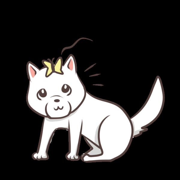 ちょうちょがとまった犬のイラスト