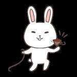 コマで遊ぶウサギ