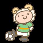 サッカーをする羊(緑)