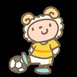 サッカーをする羊(黄色)