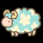 お花模様の羊(ブルー)