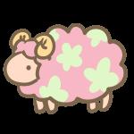 お花模様の羊(ピンク)