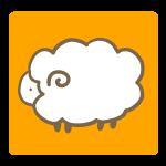 オレンジ背景の羊