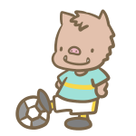 サッカーをする猪(水色)