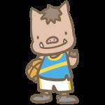 バスケをする猪(青)