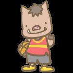 バスケをする猪(赤)