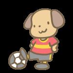 サッカーをする犬(赤)