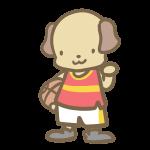バスケをする犬(赤)