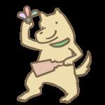 羽子板を持つ犬