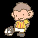 サッカーをする猿(黄色)