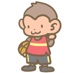 バスケをする猿(赤)