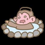 温泉にのぼせる猿