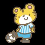 サッカーをするトラ(青)