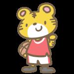 バスケをするトラ(赤)
