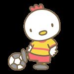 サッカーをする鶏(黄色)