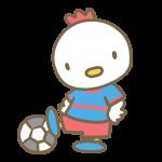 サッカーをする鶏(青)
