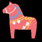洋風の馬の置物(赤)