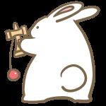 けん玉をするウサギ