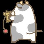 けん玉の練習をする牛