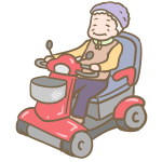 セニアカーに乗るおばあちゃん