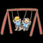 ブランコと園児