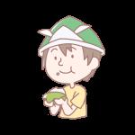 柏餅を食べる男の子