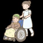 車いすのおじいさんとヘルパー