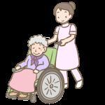 車いすのおばあさんとヘルパー