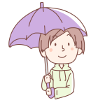 紫の傘をさす女性