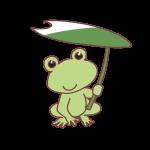カエルと蓮の傘