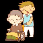 車いすを押す男性介護士