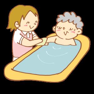 お風呂介助をする女性介護士