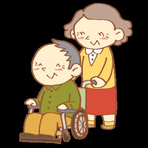 車いすを押すおばあさん