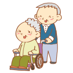 車いすを押すおじいさん