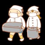 給食を運ぶ男女