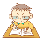 一生懸命勉強中の男の子