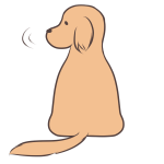 振り向く犬