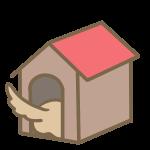 犬小屋からしっぽ