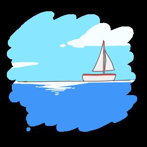 遠くに見えるヨット