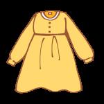 黄色の長袖ワンピース