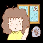雨の日湿気で髪が広がる女性