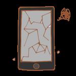 壊れたスマートフォン