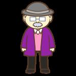 帽子とメガネを付けたおじいさん