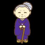 杖を持ったおばあちゃん(笑顔)