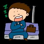 電車で居眠りするビジネスマン