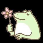 お花を持ったカエル